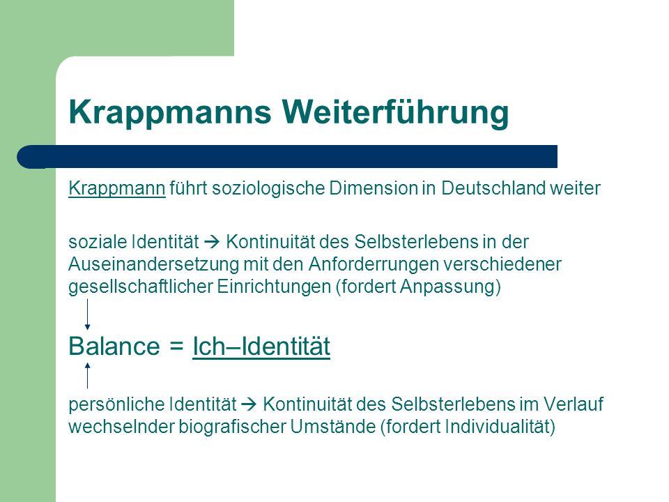 Krappmanns Weiterführung Krappmann führt soziologische Dimension in Deutschland weiter soziale Identität Kontinuität des Selbsterlebens in der Auseina