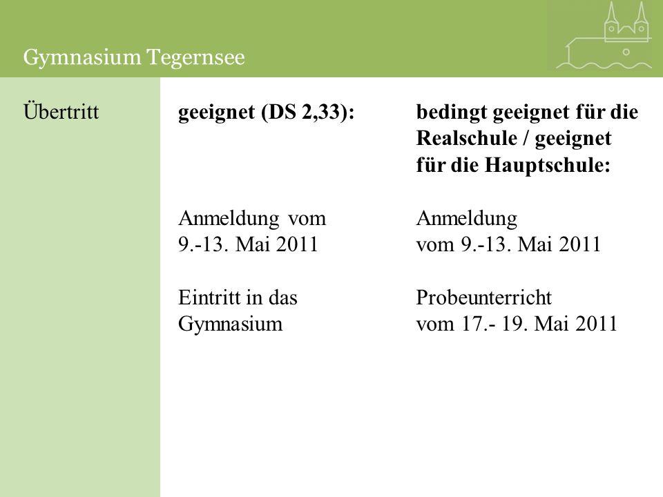 Übertrittgeeignet (DS 2,33): Anmeldung vom 9.-13. Mai 2011 Eintritt in das Gymnasium bedingt geeignet für die Realschule / geeignet für die Hauptschul