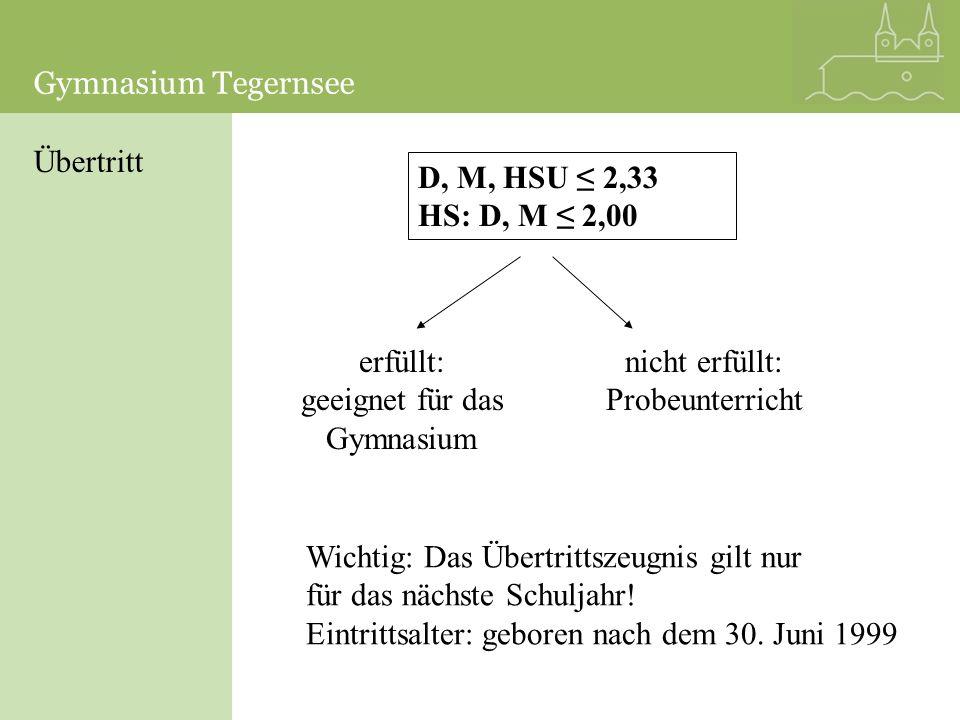 Übertritt D, M, HSU 2,33 HS: D, M 2,00 erfüllt: geeignet für das Gymnasium nicht erfüllt: Probeunterricht Wichtig: Das Übertrittszeugnis gilt nur für