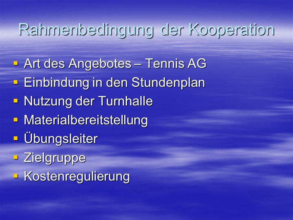 Rahmenbedingung der Kooperation Art des Angebotes – Tennis AG Art des Angebotes – Tennis AG Einbindung in den Stundenplan Einbindung in den Stundenplan Nutzung der Turnhalle Nutzung der Turnhalle Materialbereitstellung Materialbereitstellung Übungsleiter Übungsleiter Zielgruppe Zielgruppe Kostenregulierung Kostenregulierung