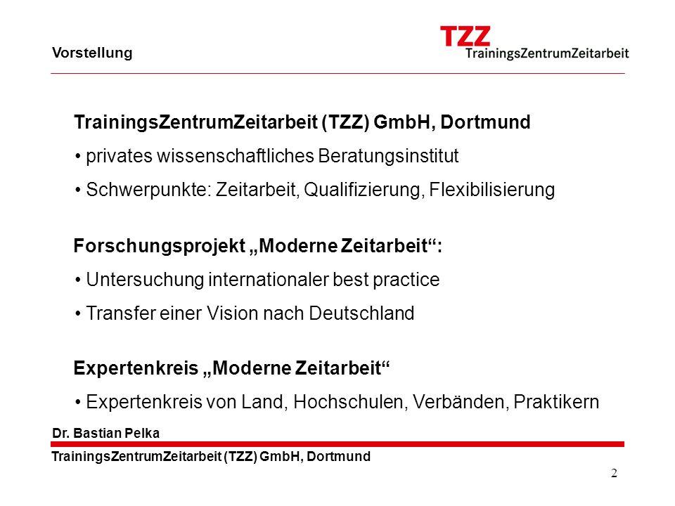 2 TrainingsZentrumZeitarbeit (TZZ) GmbH, Dortmund Dr. Bastian Pelka Vorstellung privates wissenschaftliches Beratungsinstitut Schwerpunkte: Zeitarbeit