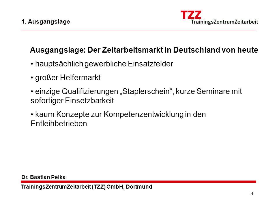 4 TrainingsZentrumZeitarbeit (TZZ) GmbH, Dortmund Dr. Bastian Pelka 1. Ausgangslage hauptsächlich gewerbliche Einsatzfelder großer Helfermarkt einzige
