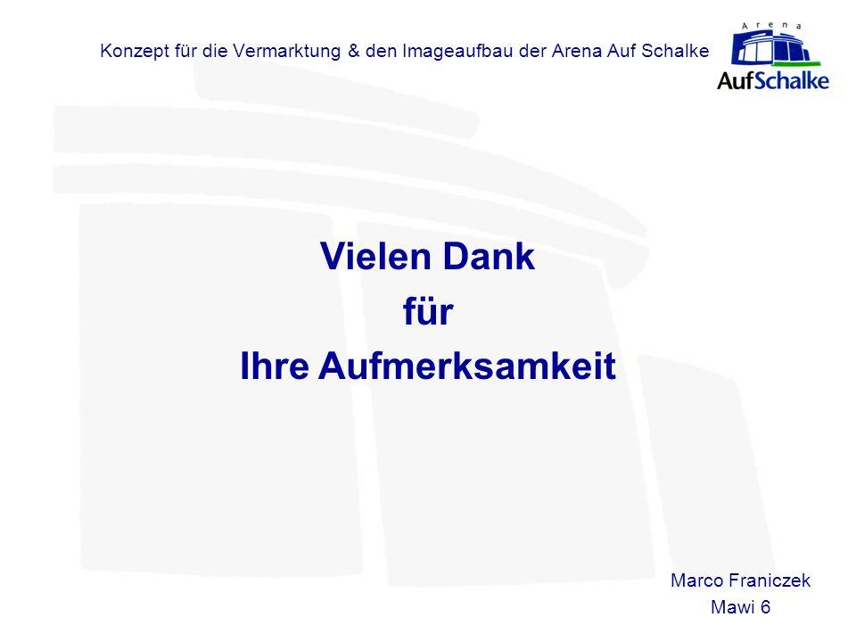 Konzept für die Vermarktung & den Imageaufbau der Arena Auf Schalke Marco Franiczek Mawi 6 Vielen Dank für Ihre Aufmerksamkeit