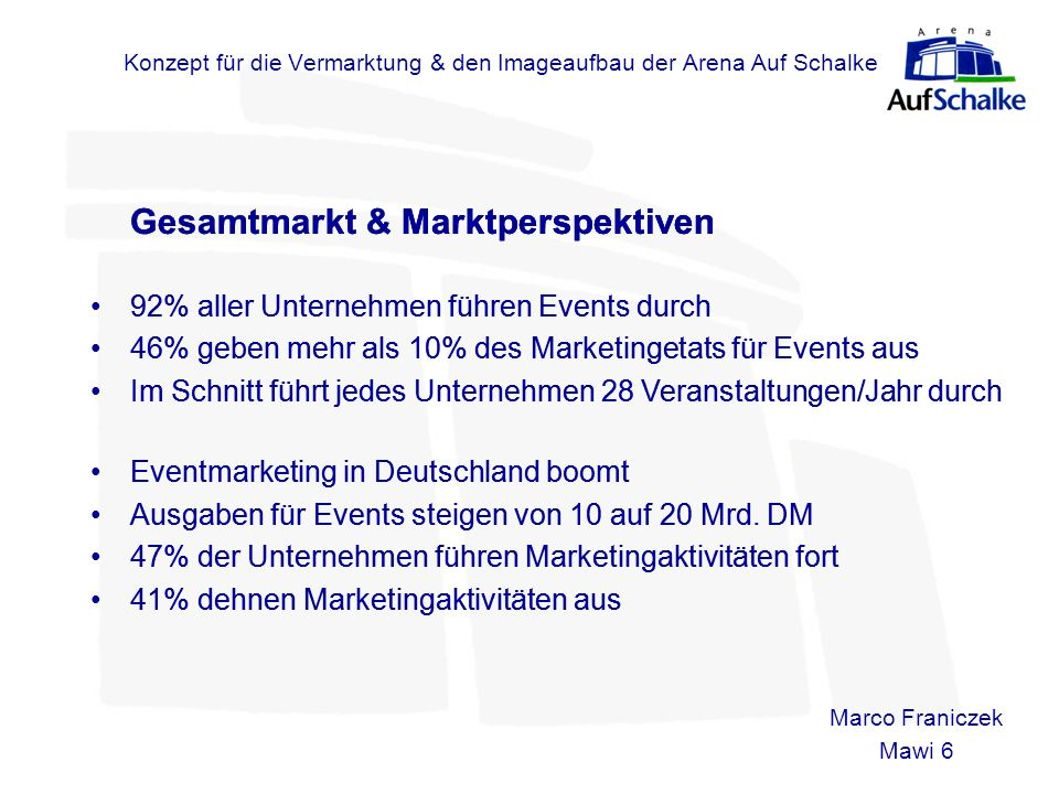 Konzept für die Vermarktung & den Imageaufbau der Arena Auf Schalke Gesamtmarkt & Marktperspektiven 92% aller Unternehmen führen Events durch 46% gebe