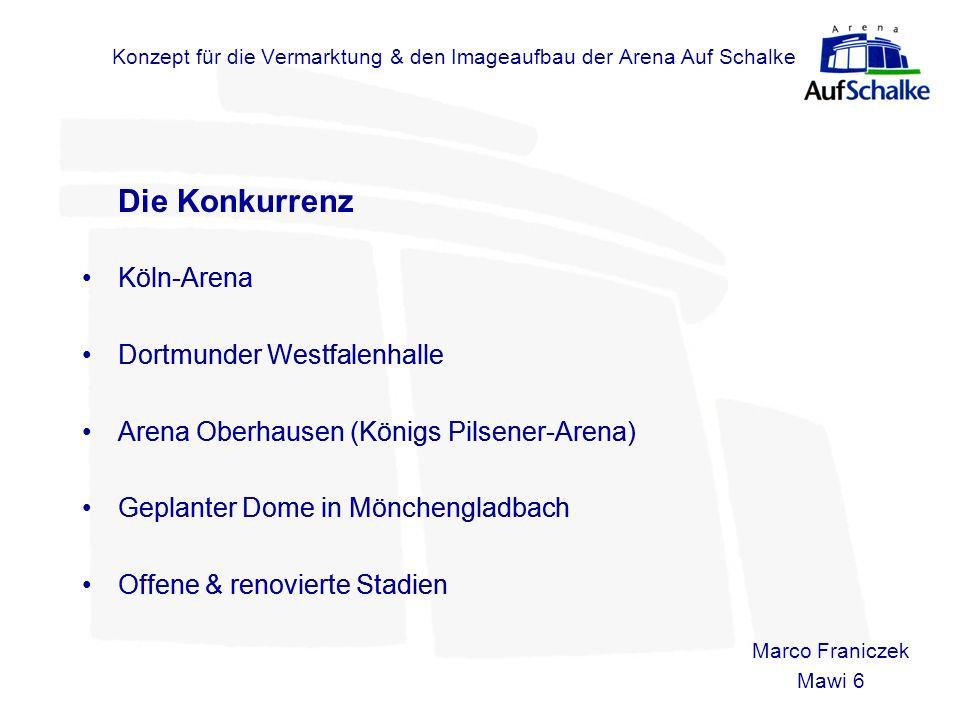 Konzept für die Vermarktung & den Imageaufbau der Arena Auf Schalke Die Konkurrenz Köln-Arena Dortmunder Westfalenhalle Arena Oberhausen (Königs Pilse