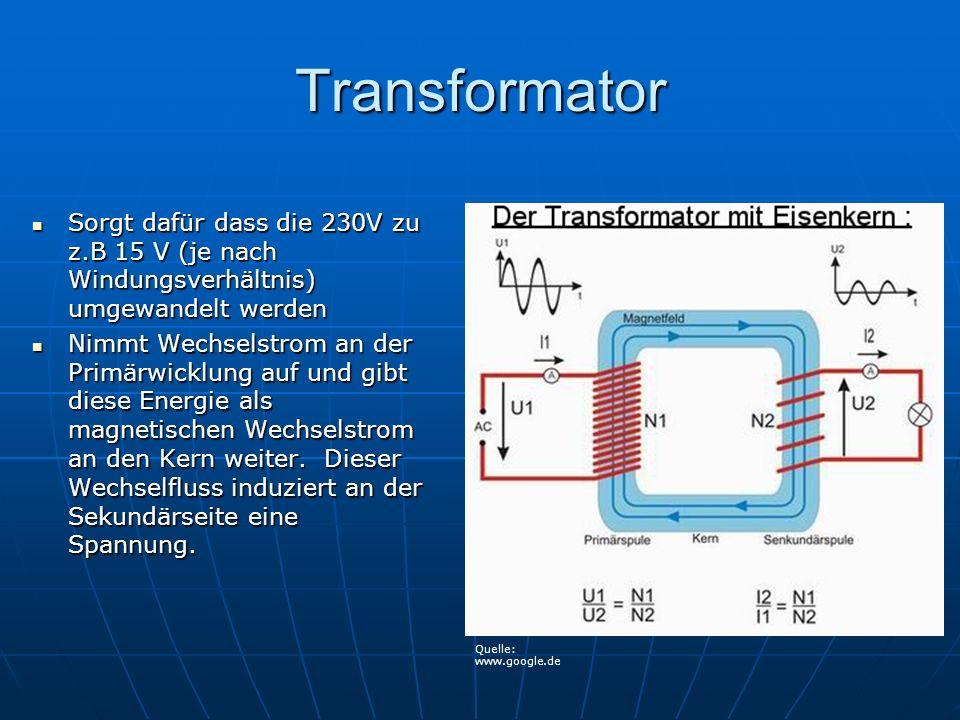 Transformator Sorgt dafür dass die 230V zu z.B 15 V (je nach Windungsverhältnis) umgewandelt werden Sorgt dafür dass die 230V zu z.B 15 V (je nach Win