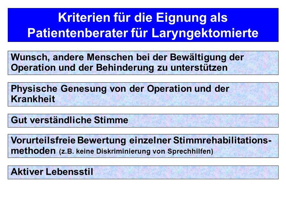 Kriterien für die Eignung als Patientenberater für Laryngektomierte Wunsch, andere Menschen bei der Bewältigung der Operation und der Behinderung zu u