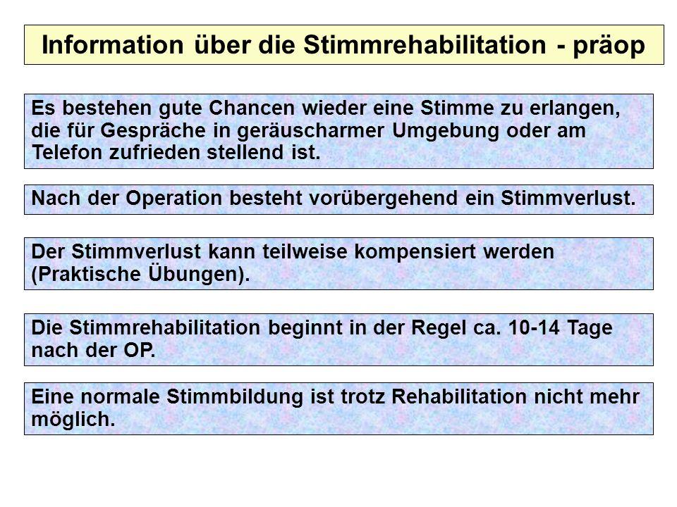 Information über die Stimmrehabilitation - präop Nach der Operation besteht vorübergehend ein Stimmverlust. Der Stimmverlust kann teilweise kompensier