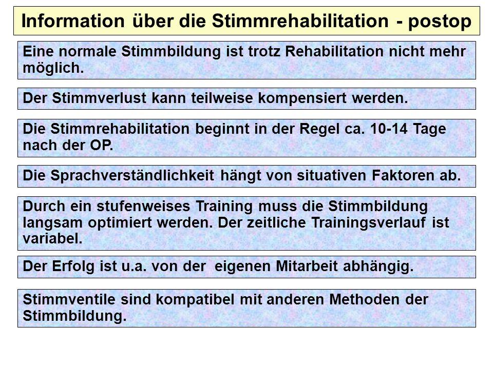 Information über die Stimmrehabilitation - postop Der Stimmverlust kann teilweise kompensiert werden. Die Stimmrehabilitation beginnt in der Regel ca.