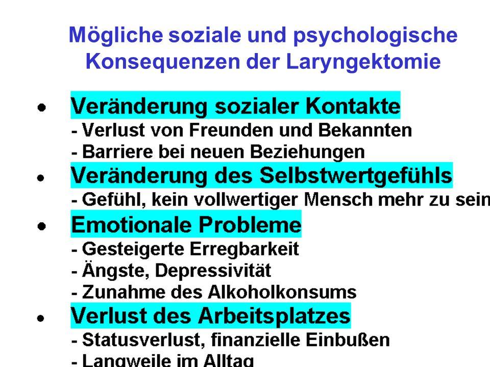 Mögliche soziale und psychologische Konsequenzen der Laryngektomie
