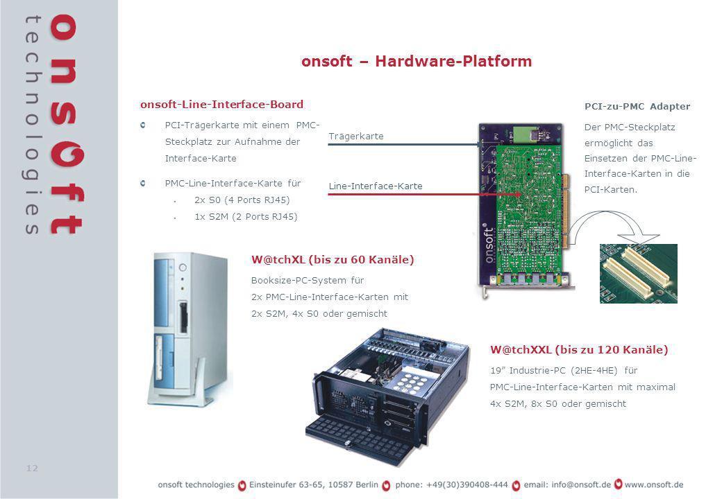 12 onsoft – Hardware-Platform onsoft-Line-Interface-Board PCI-Trägerkarte mit einem PMC- Steckplatz zur Aufnahme der Interface-Karte PMC-Line-Interfac