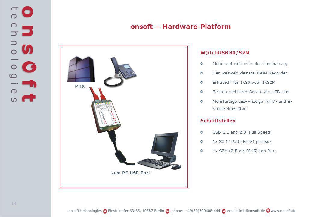 14 onsoft – Hardware-Platform W@tchUSB S0/S2M Mobil und einfach in der Handhabung Der weltweit kleinste ISDN-Rekorder Erhältlich für 1xS0 oder 1xS2M B