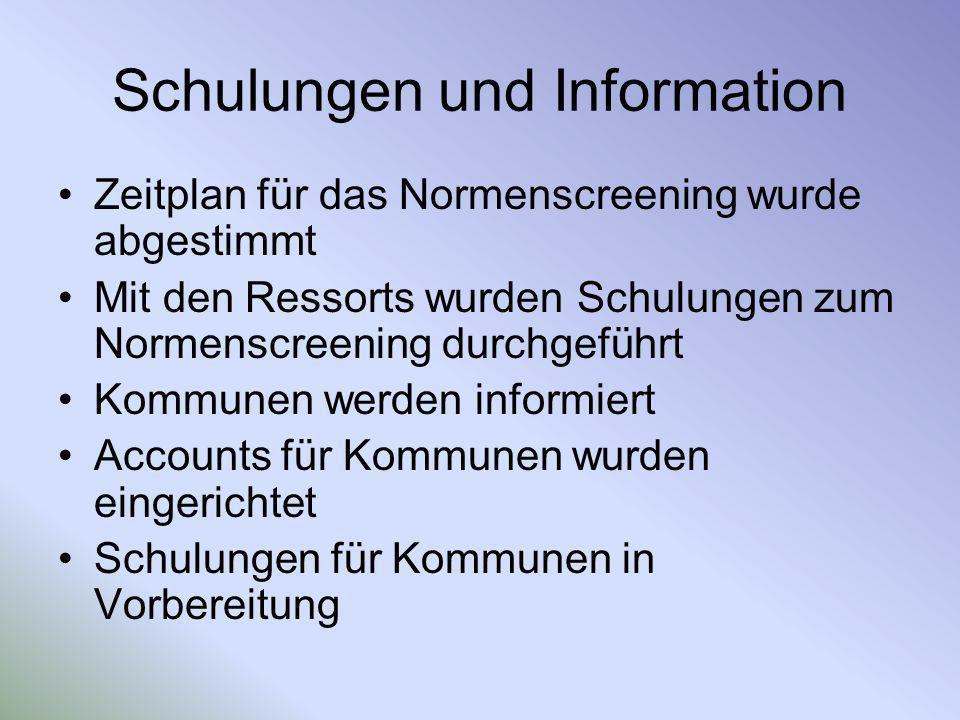 Schulungen und Information Zeitplan für das Normenscreening wurde abgestimmt Mit den Ressorts wurden Schulungen zum Normenscreening durchgeführt Kommu