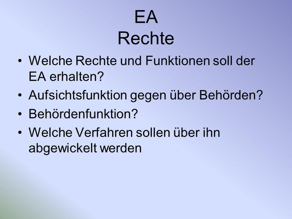 EA Rechte Welche Rechte und Funktionen soll der EA erhalten? Aufsichtsfunktion gegen über Behörden? Behördenfunktion? Welche Verfahren sollen über ihn