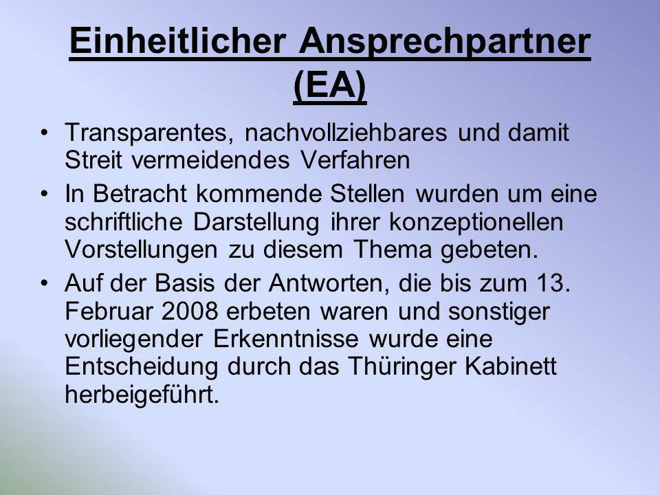 Einheitlicher Ansprechpartner (EA) Transparentes, nachvollziehbares und damit Streit vermeidendes Verfahren In Betracht kommende Stellen wurden um ein