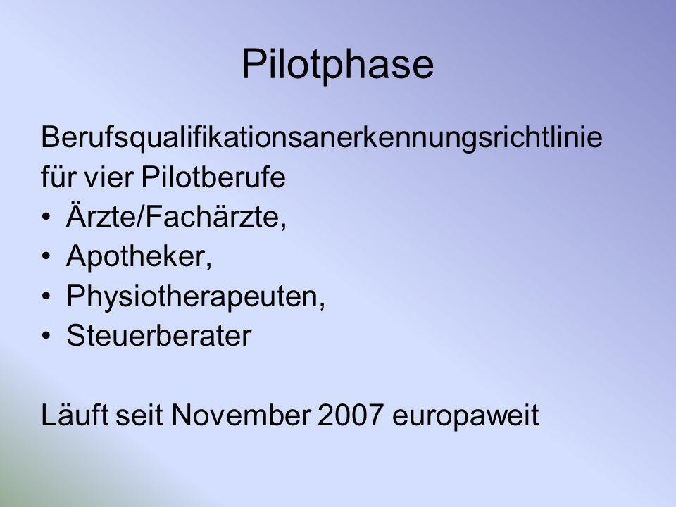 Pilotphase Berufsqualifikationsanerkennungsrichtlinie für vier Pilotberufe Ärzte/Fachärzte, Apotheker, Physiotherapeuten, Steuerberater Läuft seit Nov