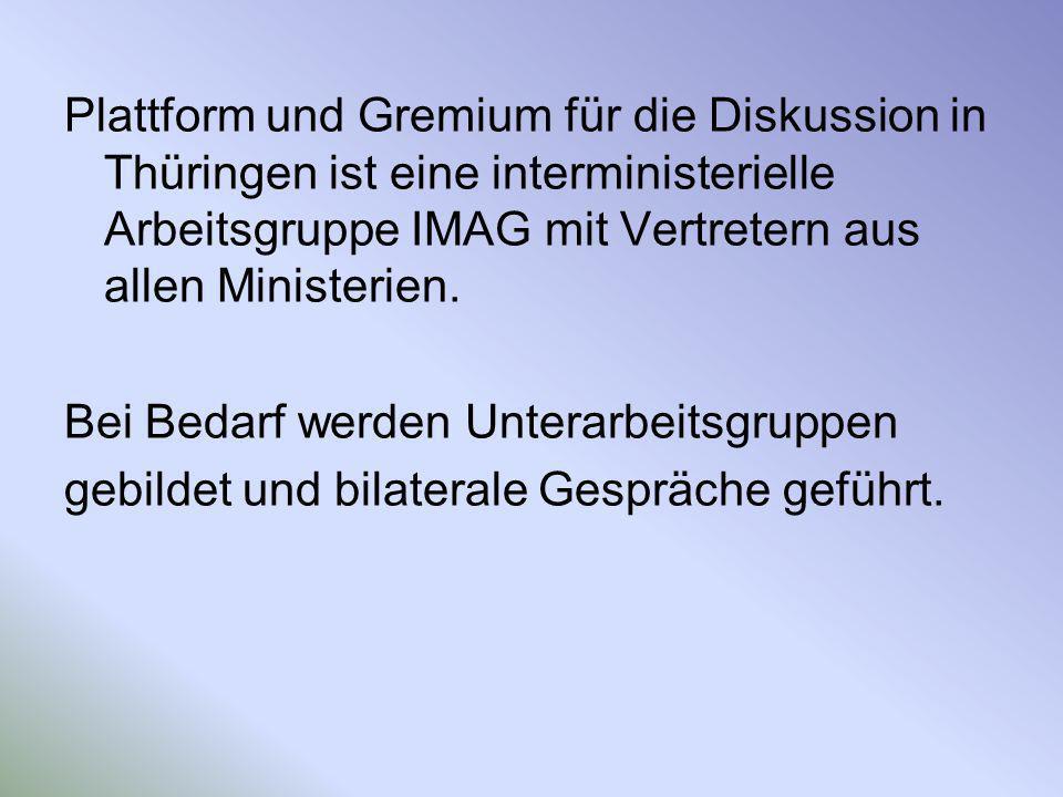 Plattform und Gremium für die Diskussion in Thüringen ist eine interministerielle Arbeitsgruppe IMAG mit Vertretern aus allen Ministerien. Bei Bedarf