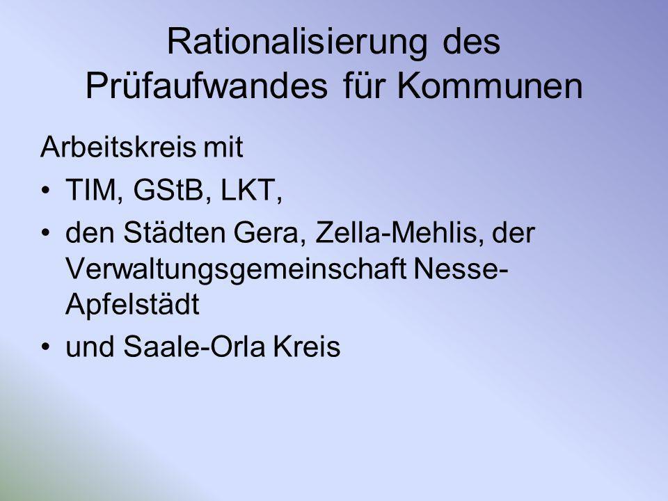 Rationalisierung des Prüfaufwandes für Kommunen Arbeitskreis mit TIM, GStB, LKT, den Städten Gera, Zella-Mehlis, der Verwaltungsgemeinschaft Nesse- Ap