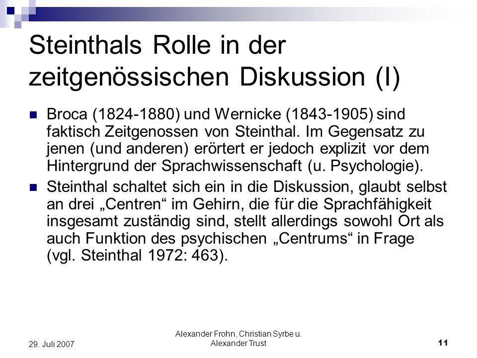 Alexander Frohn, Christian Syrbe u. Alexander Trust11 29. Juli 2007 Steinthals Rolle in der zeitgenössischen Diskussion (I) Broca (1824-1880) und Wern