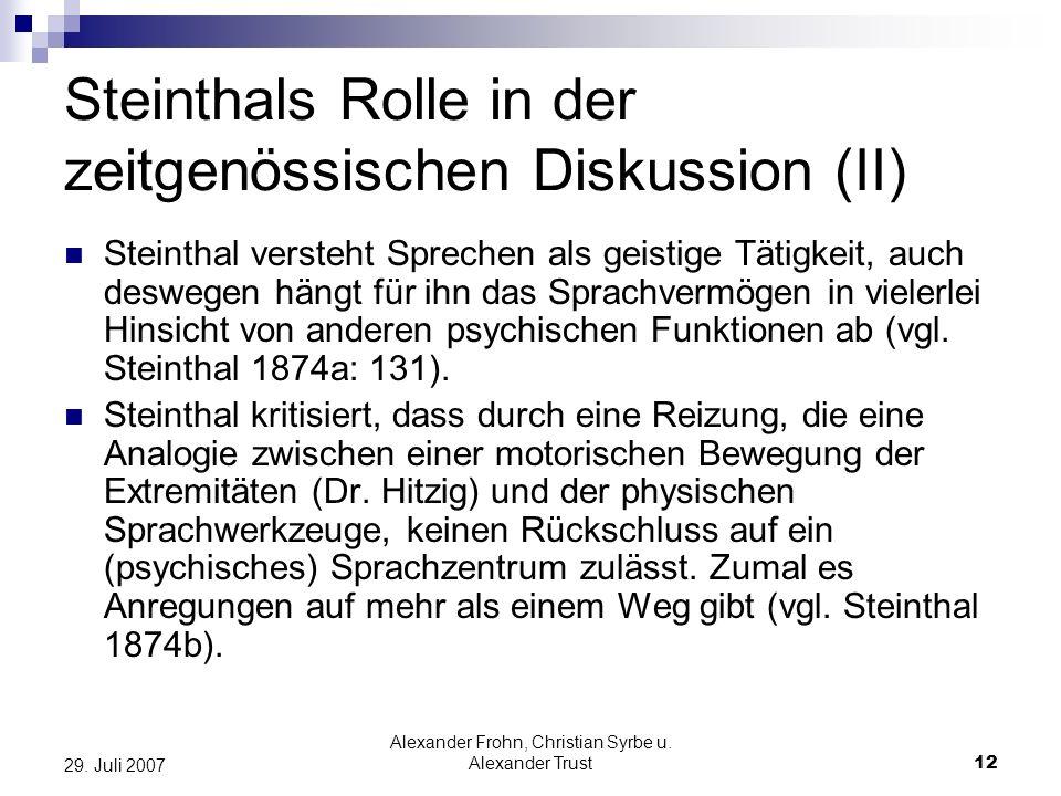 Alexander Frohn, Christian Syrbe u. Alexander Trust12 29. Juli 2007 Steinthals Rolle in der zeitgenössischen Diskussion (II) Steinthal versteht Sprech