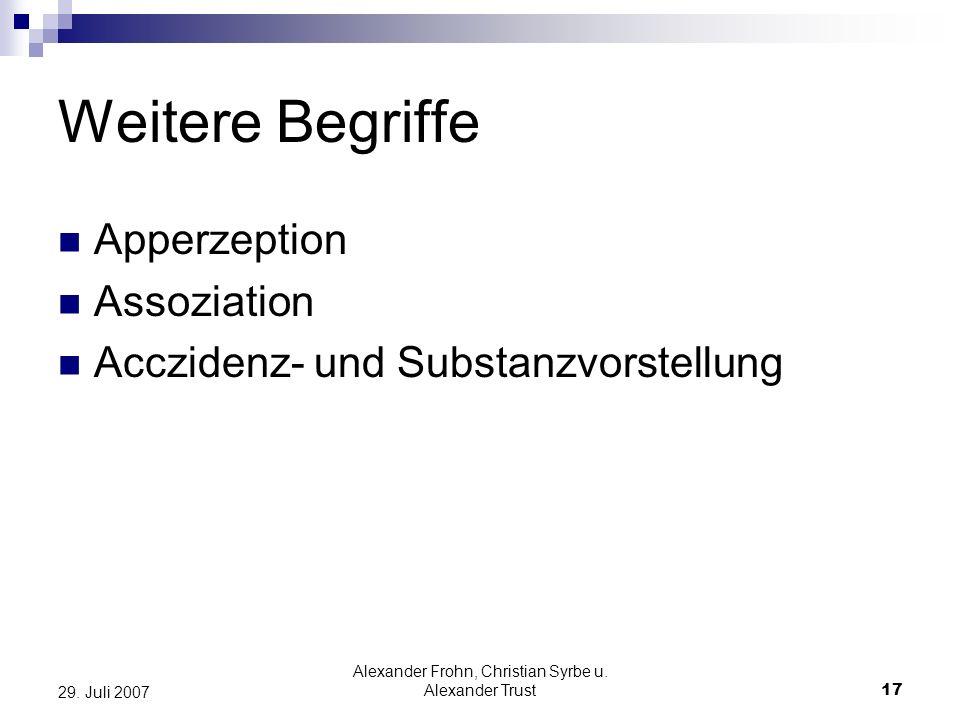 Alexander Frohn, Christian Syrbe u. Alexander Trust17 29. Juli 2007 Weitere Begriffe Apperzeption Assoziation Acczidenz- und Substanzvorstellung