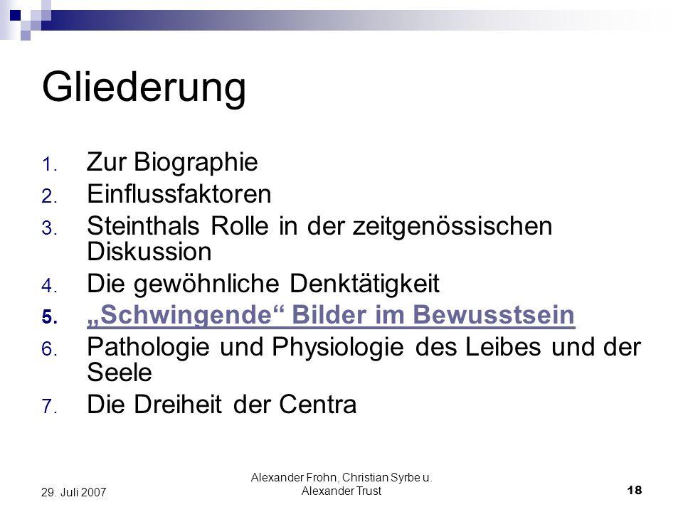 Alexander Frohn, Christian Syrbe u. Alexander Trust18 29. Juli 2007 Gliederung 1. Zur Biographie 2. Einflussfaktoren 3. Steinthals Rolle in der zeitge