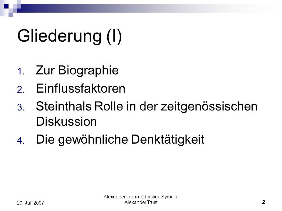 Alexander Frohn, Christian Syrbe u. Alexander Trust2 29. Juli 2007 Gliederung (I) 1. Zur Biographie 2. Einflussfaktoren 3. Steinthals Rolle in der zei