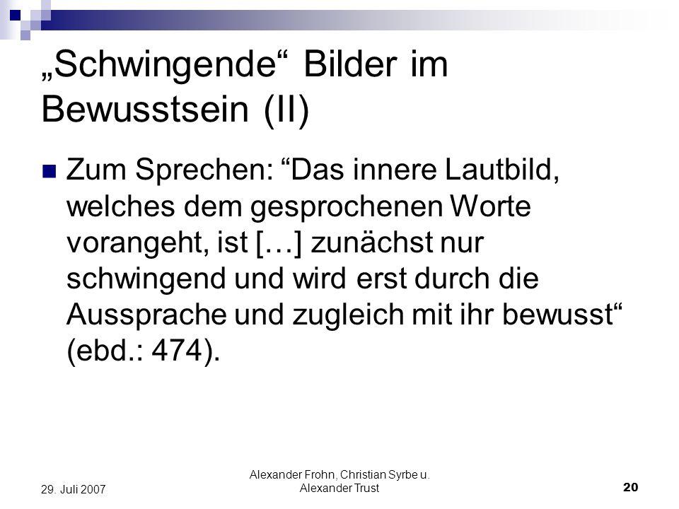 Alexander Frohn, Christian Syrbe u. Alexander Trust20 29. Juli 2007 Schwingende Bilder im Bewusstsein (II) Zum Sprechen: Das innere Lautbild, welches