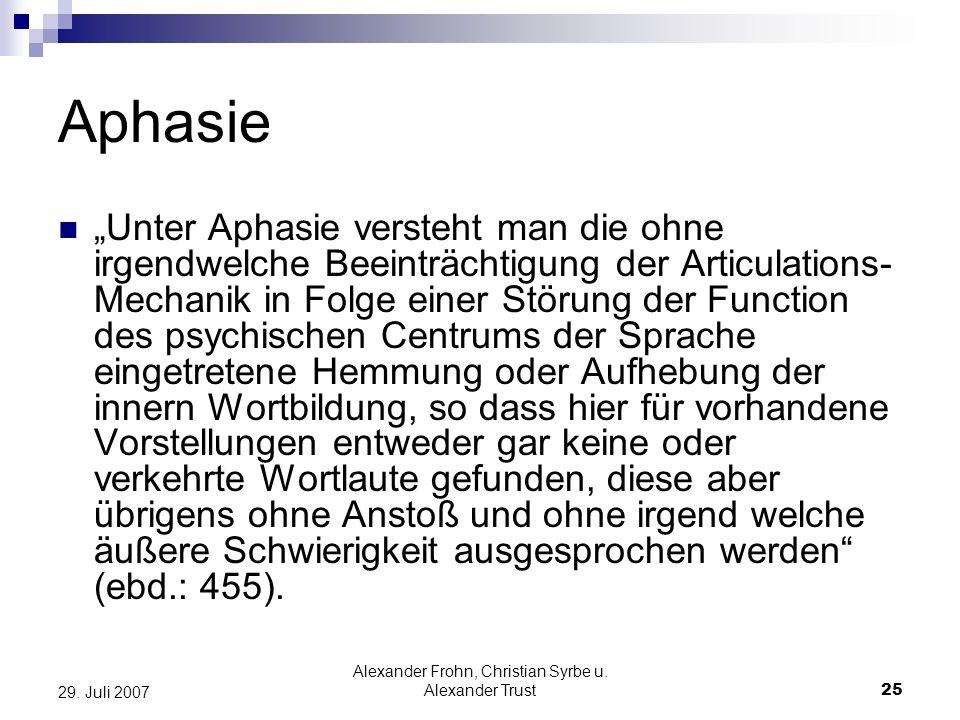 Alexander Frohn, Christian Syrbe u. Alexander Trust25 29. Juli 2007 Aphasie Unter Aphasie versteht man die ohne irgendwelche Beeinträchtigung der Arti