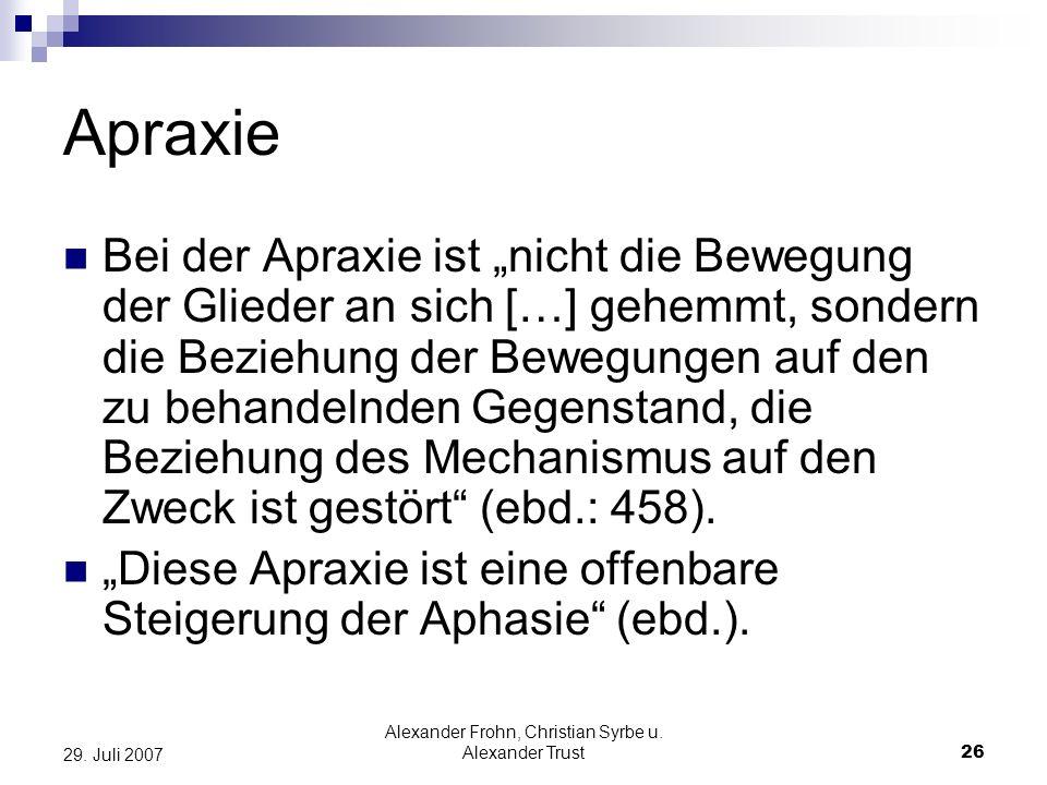 Alexander Frohn, Christian Syrbe u. Alexander Trust26 29. Juli 2007 Apraxie Bei der Apraxie ist nicht die Bewegung der Glieder an sich […] gehemmt, so