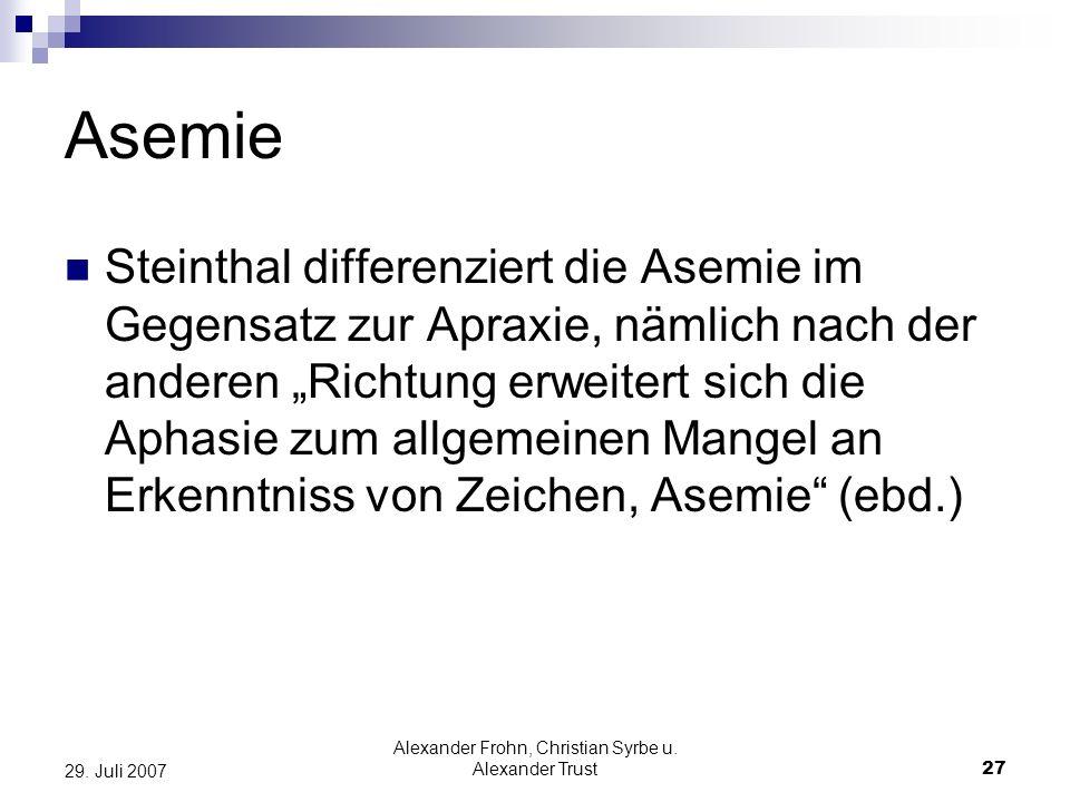 Alexander Frohn, Christian Syrbe u. Alexander Trust27 29. Juli 2007 Asemie Steinthal differenziert die Asemie im Gegensatz zur Apraxie, nämlich nach d