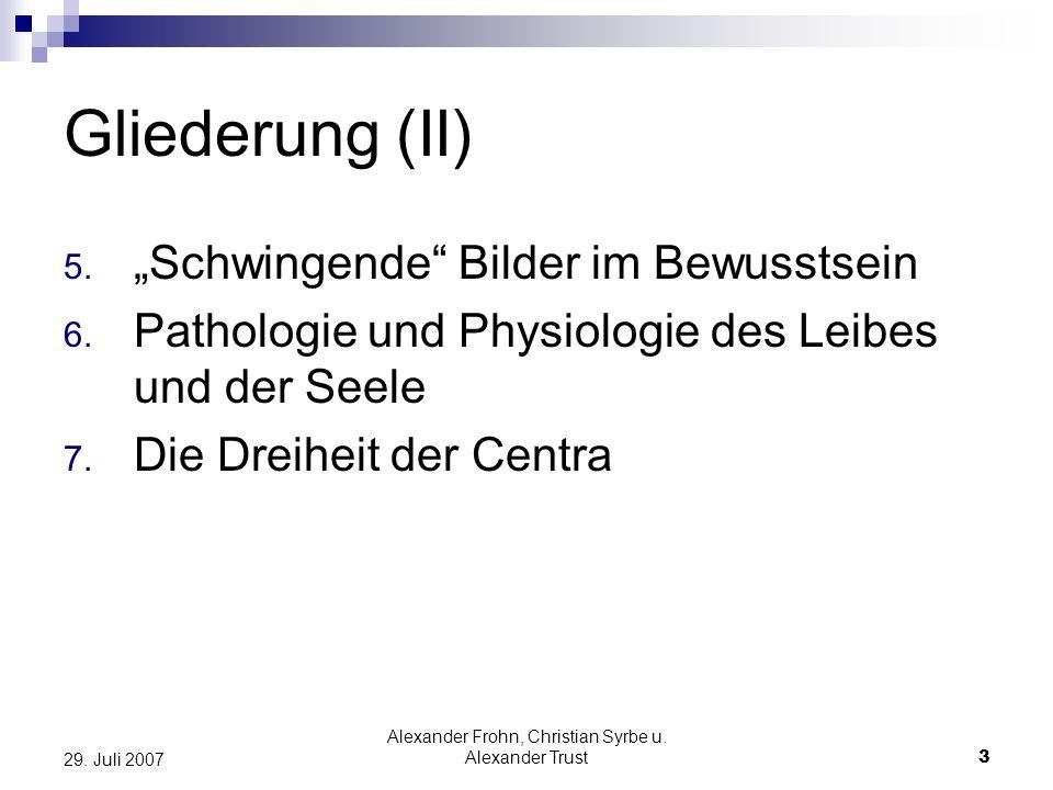 Alexander Frohn, Christian Syrbe u. Alexander Trust3 29. Juli 2007 Gliederung (II) 5. Schwingende Bilder im Bewusstsein 6. Pathologie und Physiologie