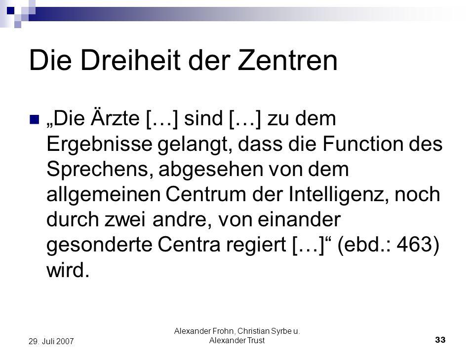 Alexander Frohn, Christian Syrbe u. Alexander Trust33 29. Juli 2007 Die Dreiheit der Zentren Die Ärzte […] sind […] zu dem Ergebnisse gelangt, dass di