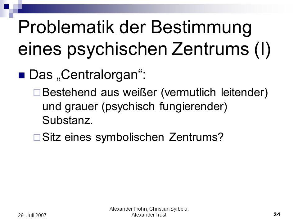Alexander Frohn, Christian Syrbe u. Alexander Trust34 29. Juli 2007 Problematik der Bestimmung eines psychischen Zentrums (I) Das Centralorgan: Besteh