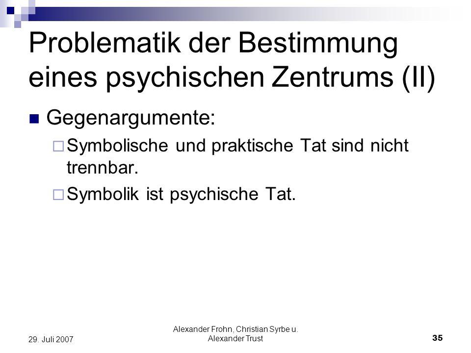 Alexander Frohn, Christian Syrbe u. Alexander Trust35 29. Juli 2007 Problematik der Bestimmung eines psychischen Zentrums (II) Gegenargumente: Symboli
