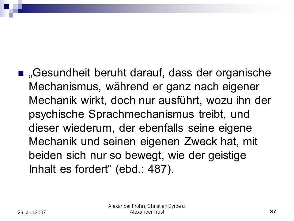 Alexander Frohn, Christian Syrbe u. Alexander Trust37 29. Juli 2007 Gesundheit beruht darauf, dass der organische Mechanismus, während er ganz nach ei