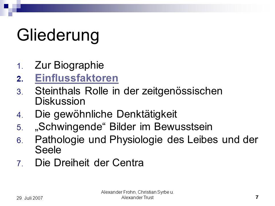 Alexander Frohn, Christian Syrbe u. Alexander Trust7 29. Juli 2007 Gliederung 1. Zur Biographie 2. Einflussfaktoren 3. Steinthals Rolle in der zeitgen