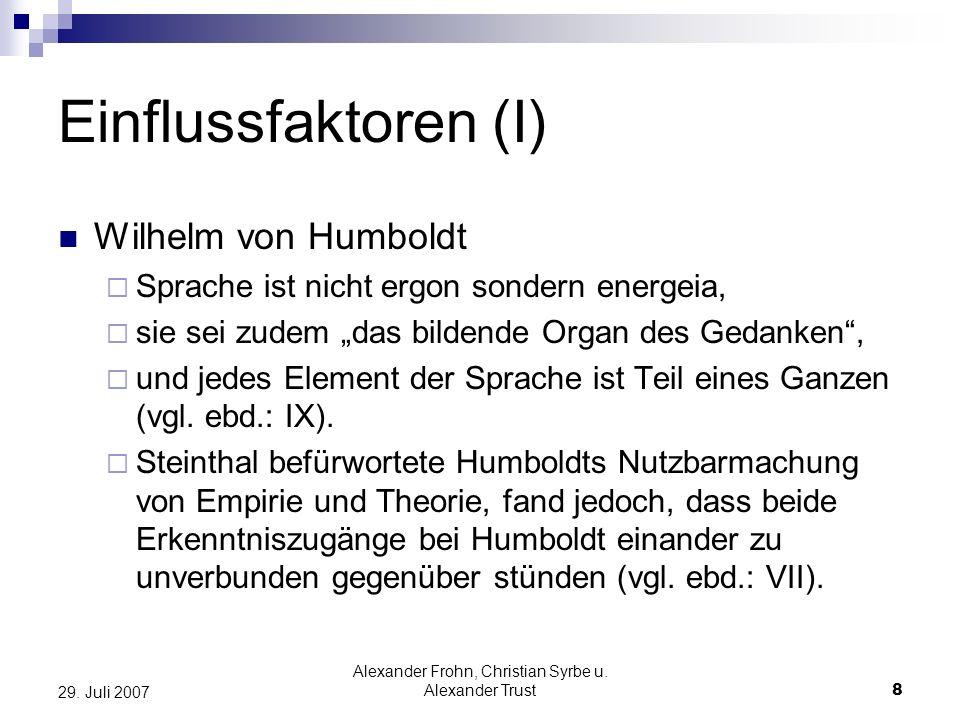 Alexander Frohn, Christian Syrbe u. Alexander Trust8 29. Juli 2007 Einflussfaktoren (I) Wilhelm von Humboldt Sprache ist nicht ergon sondern energeia,