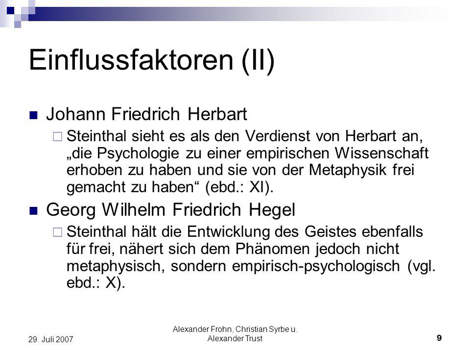 Alexander Frohn, Christian Syrbe u. Alexander Trust9 29. Juli 2007 Einflussfaktoren (II) Johann Friedrich Herbart Steinthal sieht es als den Verdienst