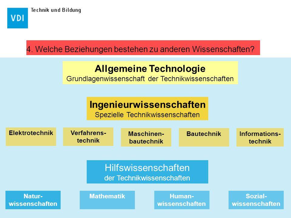 Technik und Bildung 4. Welche Beziehungen bestehen zu anderen Wissenschaften? Allgemeine Technologie Grundlagenwissenschaft der Technikwissenschaften