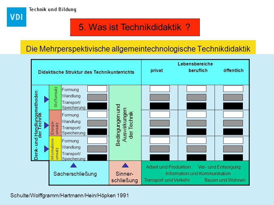 Technik und Bildung Die Mehrperspektivische allgemeintechnologische Technikdidaktik Didaktische Struktur des Technikunterrichts Lebensbereiche privat