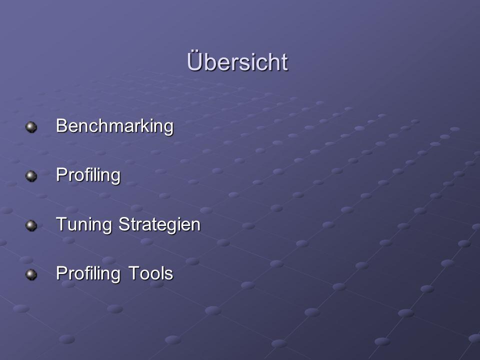 Übersicht BenchmarkingProfiling Tuning Strategien Profiling Tools