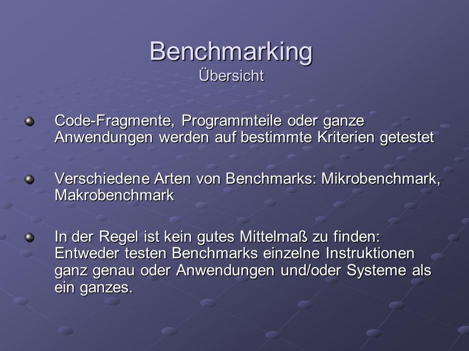Benchmarking Übersicht Code-Fragmente, Programmteile oder ganze Anwendungen werden auf bestimmte Kriterien getestet Verschiedene Arten von Benchmarks: