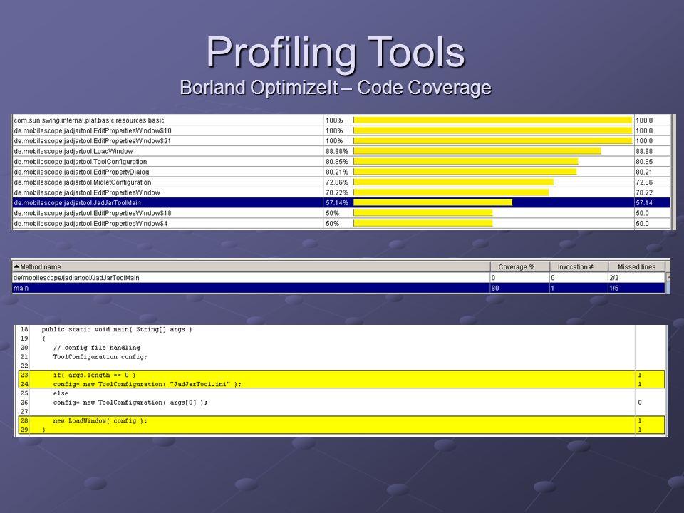 Profiling Tools Borland OptimizeIt – Code Coverage