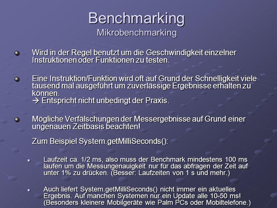 Benchmarking Mikrobenchmarking Wird in der Regel benutzt um die Geschwindigkeit einzelner Instruktionen oder Funktionen zu testen. Eine Instruktion/Fu