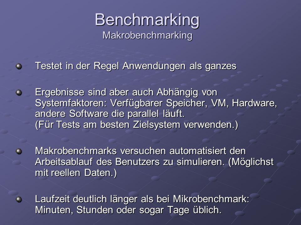 Benchmarking Makrobenchmarking Testet in der Regel Anwendungen als ganzes Ergebnisse sind aber auch Abhängig von Systemfaktoren: Verfügbarer Speicher,