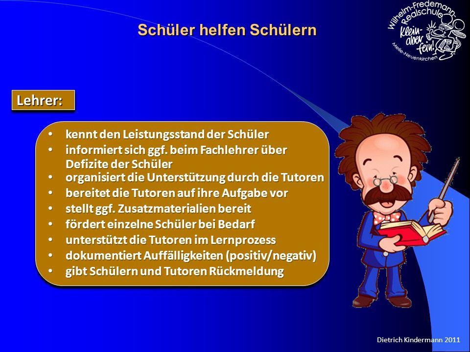 Dietrich Kindermann 2011 kennt den Leistungsstand der Schüler kennt den Leistungsstand der Schüler informiert sich ggf. beim Fachlehrer über Defizite