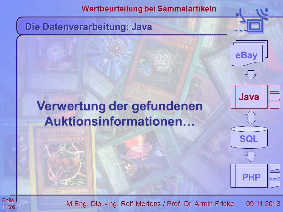 Folie11/2609.11.2013 Wertbeurteilung bei Sammelartikeln M.Eng. Dipl.-Ing. Rolf MertensProf. Dr. Armin Fricke M.Eng. Dipl.-Ing. Rolf Mertens / Prof. Dr