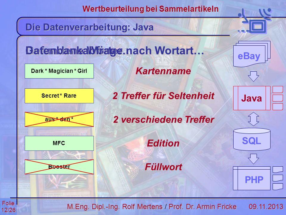 Folie12/2609.11.2013 Wertbeurteilung bei Sammelartikeln M.Eng. Dipl.-Ing. Rolf MertensProf. Dr. Armin Fricke M.Eng. Dipl.-Ing. Rolf Mertens / Prof. Dr