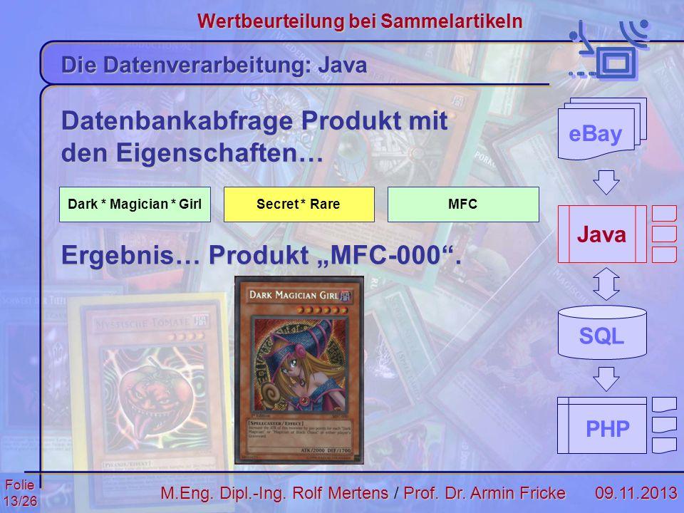 Folie13/2609.11.2013 Wertbeurteilung bei Sammelartikeln M.Eng. Dipl.-Ing. Rolf MertensProf. Dr. Armin Fricke M.Eng. Dipl.-Ing. Rolf Mertens / Prof. Dr